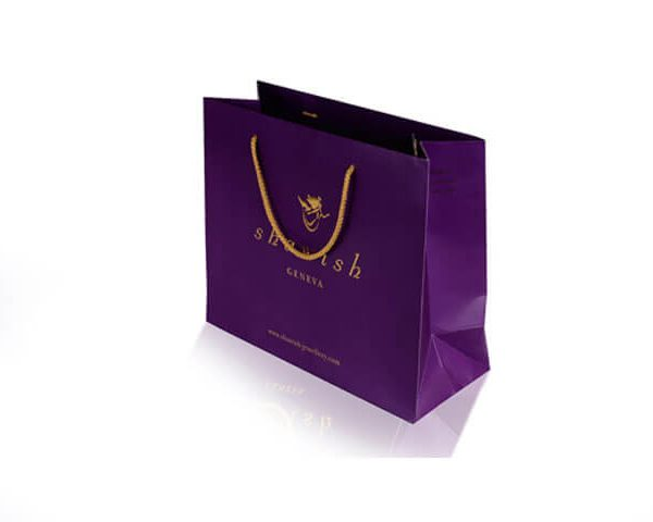 Purple jeweller luxury paper bag with gold hot foil stamping and pp rope